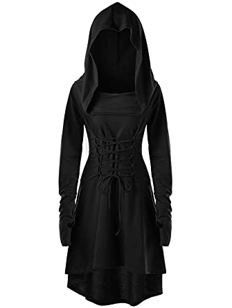 910468c9f9c8a Amazon.com  Gemijack Womens Renaissance Costumes Hooded Robe Lace Up  Vintage Pullover High Low Long Hoodie Dress Cloak  Clothing