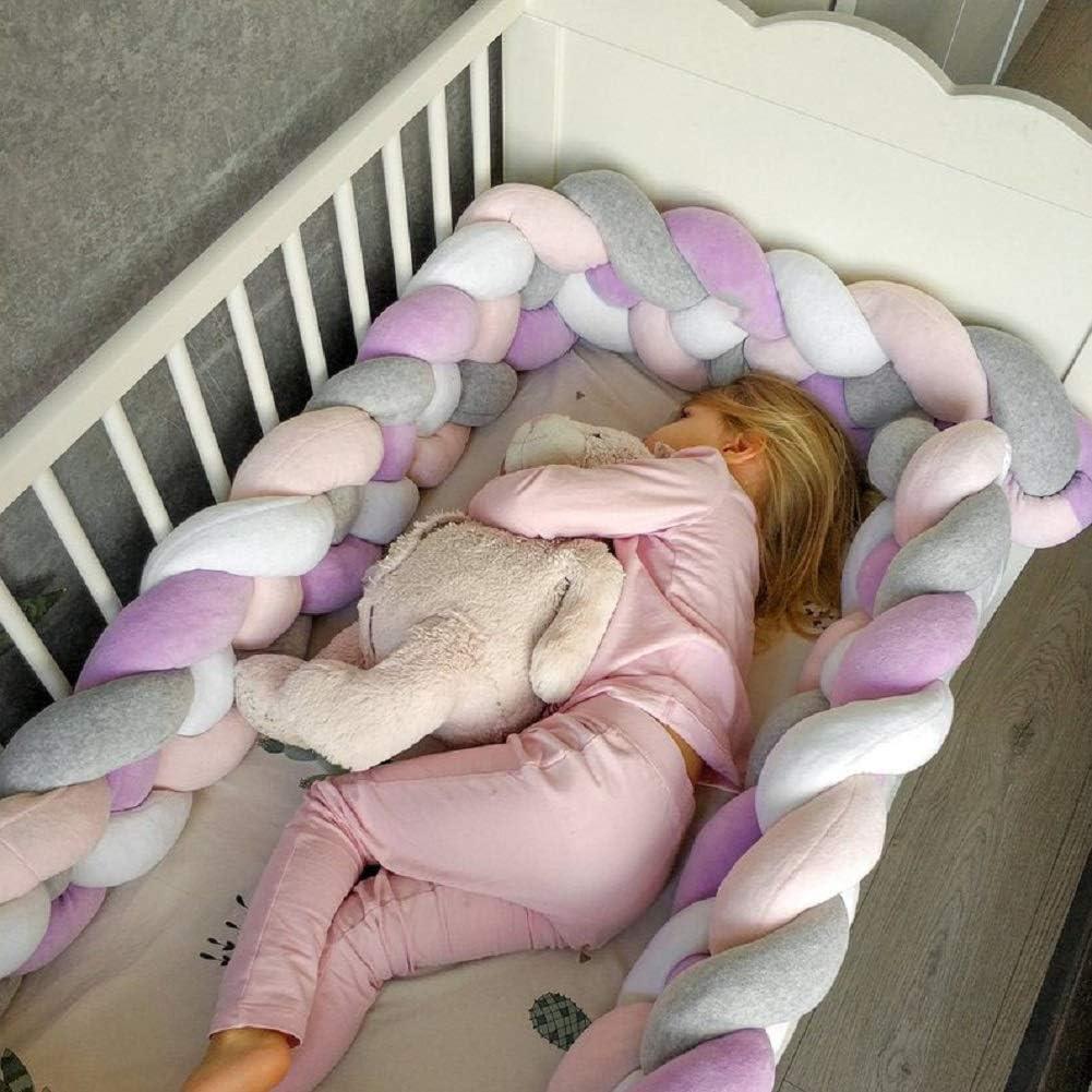 4 Strands Pink 118 inch Baby Crib Bumper Plush Knotted Braided Bumper Handmade Soft Knot Pillow Sleep Safety Nursery Cradle Decor Newborn Gift Crib Protector