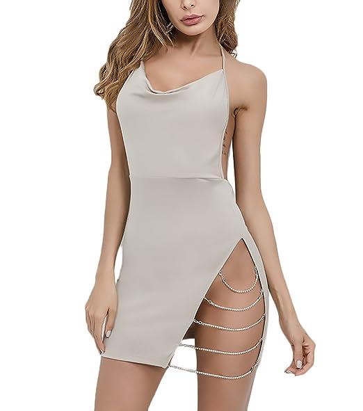 Mujer Vestidos De Coctel Modernas Casual Atractivo Bodycon Vestido Verano Sin Mangas V Cuello Espalda Descubierta