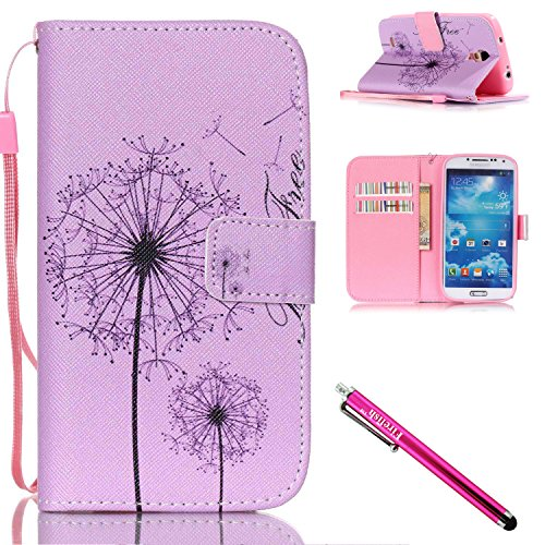 Synthetic Leather Shell (Galaxy S4 Case, Galaxy S4 Wallet Case, Firefish [Card Slots] [Kickstand] Flip Folio Wallet Case Synthetic Leather Shell Scratch Resistant Protective Cover for Samsung Galaxy S4 i9500-A-Dandelion)