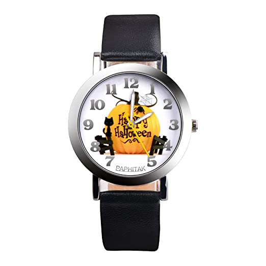 halloween pumpkin pattern watchespoto unisex leather band wrist watches on clearance male and female