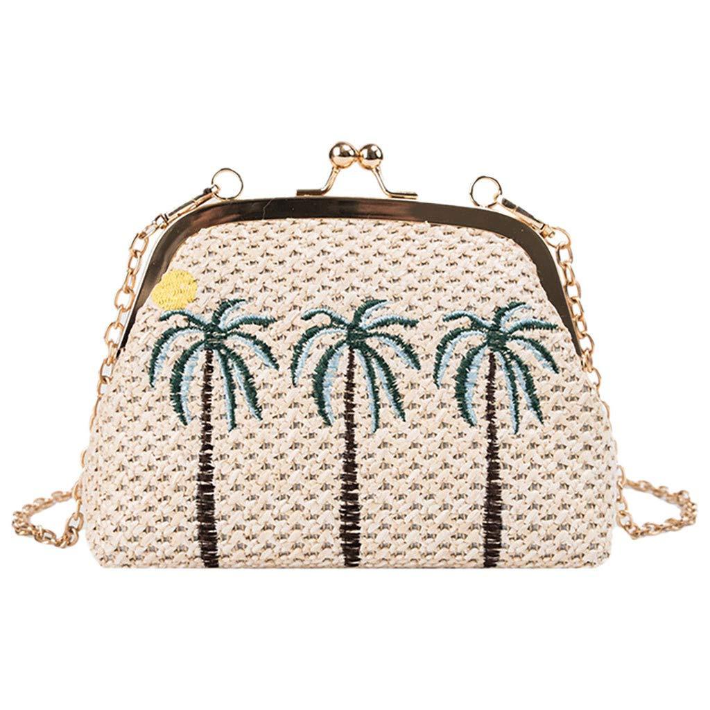 Fashionhe Weaving Bag Women Beach Bag Shoulder Bag Wild Chain Messenger Bag Handbag Cosmetic Bag(Beige-A)