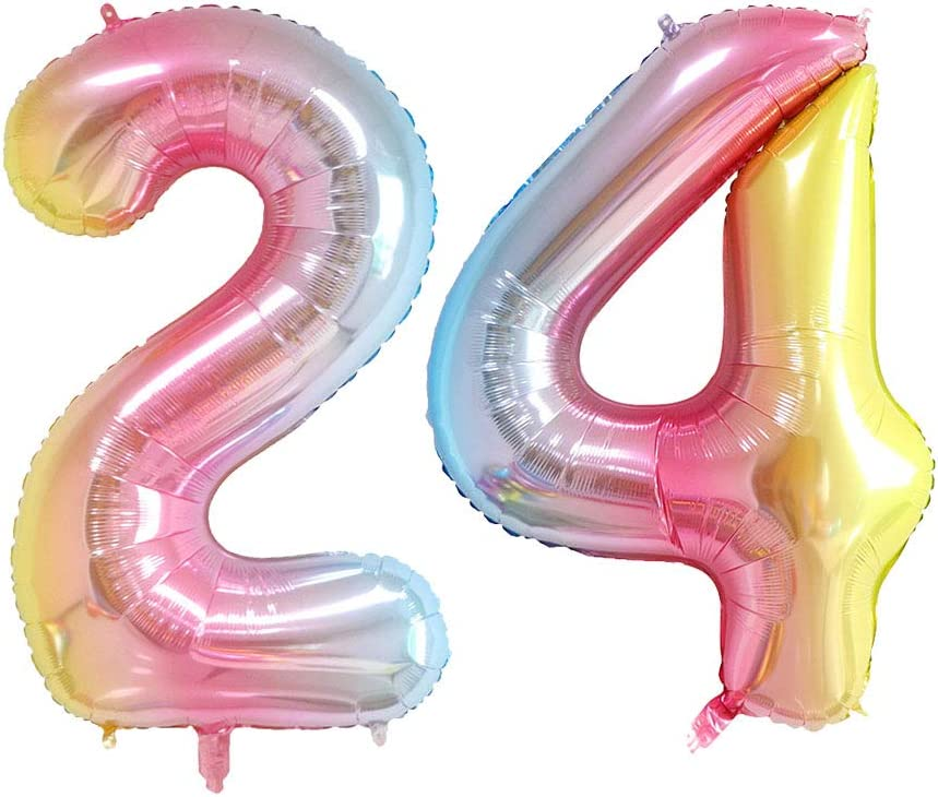 40inch 16th Birthday Party Decorations Number 16 Rainbow Foil Jumbo Digital Mylar Balloons Colorful Party Balloon Supplies