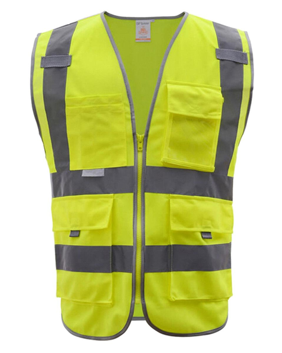 Panegy Class 2 Highly Reflective Zipper Front Safety Vest, Lightweight High Visibility Vest with Multiple Pockets, Construction Security Motorcycle Bicycle Traffic Emergency Yellow L