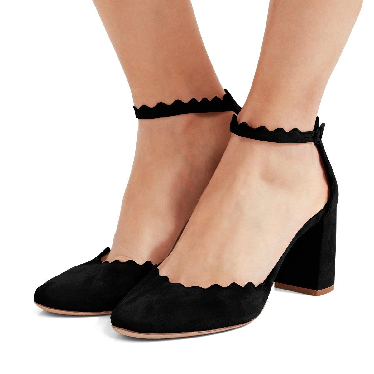 2f05ce700a104 FSJ Women Comfortable Ankle Strap Pumps Block Chunky Heels Round Toe ...