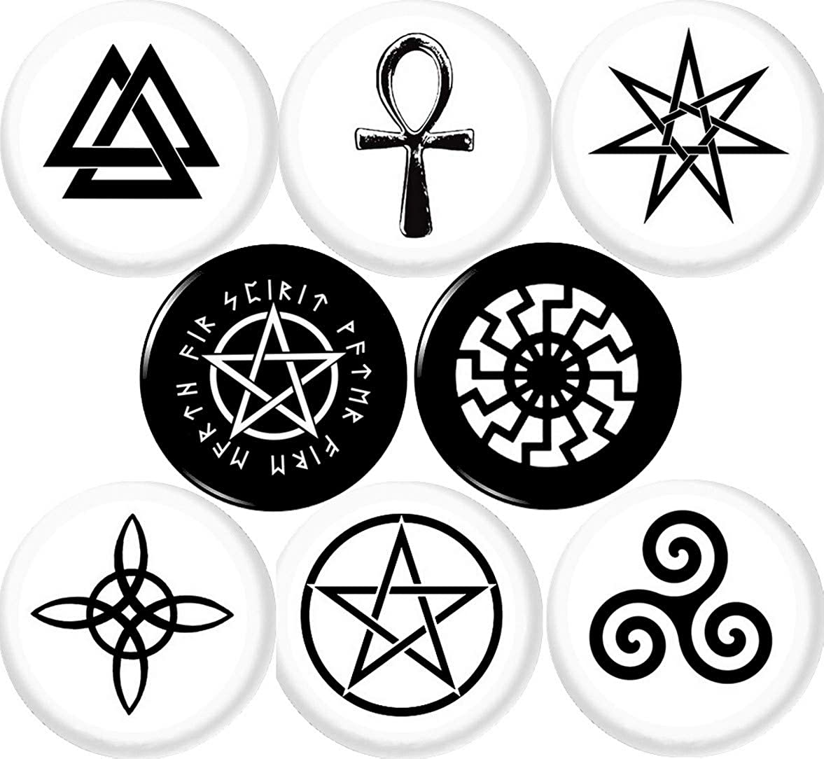 Amazon Com Wiccan Symbols 8 New 1 Inch 25mm Pins Button Badge Pagan Witch Witches Knot Pentagram Jewelry