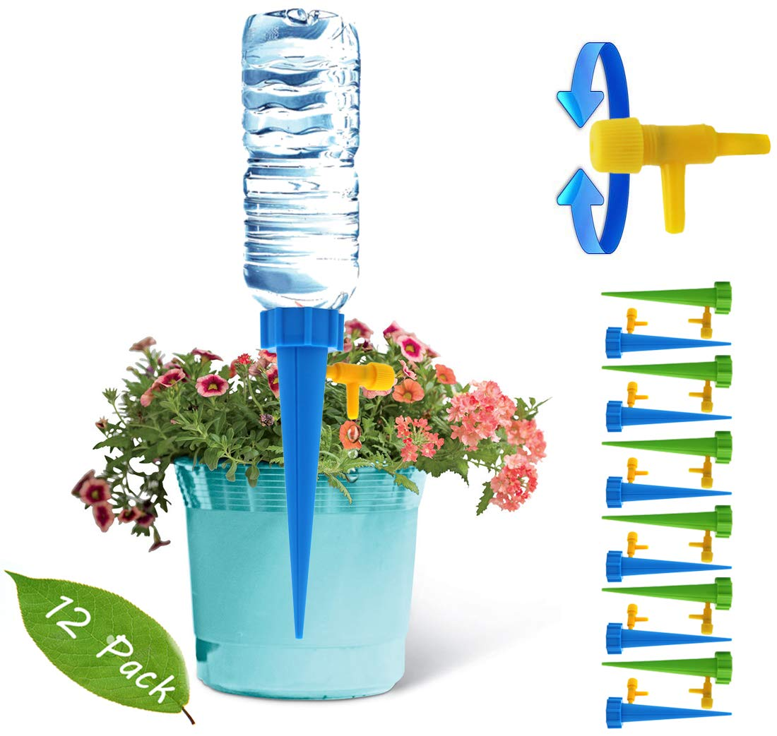 12 Pack Plant Waterer Self Watering Devices with Water Droplet Speed Control Valve Vacation Self Irrigation Watering System Automatic Watering Plants on Vacation