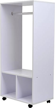 Homcom Portant A Vetements Penderie Mobile Avec Roulettes 2 Niches Grand Espace Penderie Panneaux Particules Blanc Amazon Fr Cuisine Maison