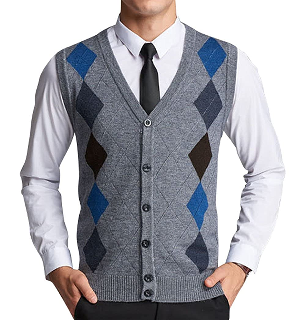 Lyamazing Men's V-Neck Argyle Pattern Button Down Sweater Vest ...