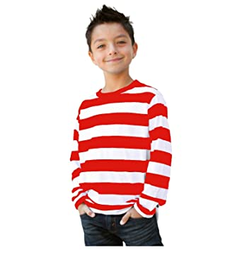Amazon.com: Child/Teen Long Sleeve Striped Shirt Red White: Clothing