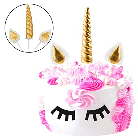 JER Cake Topper, Unicorn Cake Topper Cumpleaños Pastel Decoración,Unicornio Cuerno y Orejas Tartas Decoraciones para Boda y cumpleaños (Oro Puro)