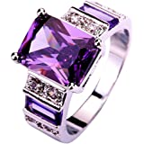 lingmei 12mm10mm Emerald Cut Cz Created Amethyst Purple & White Stones Women's Ring US Size