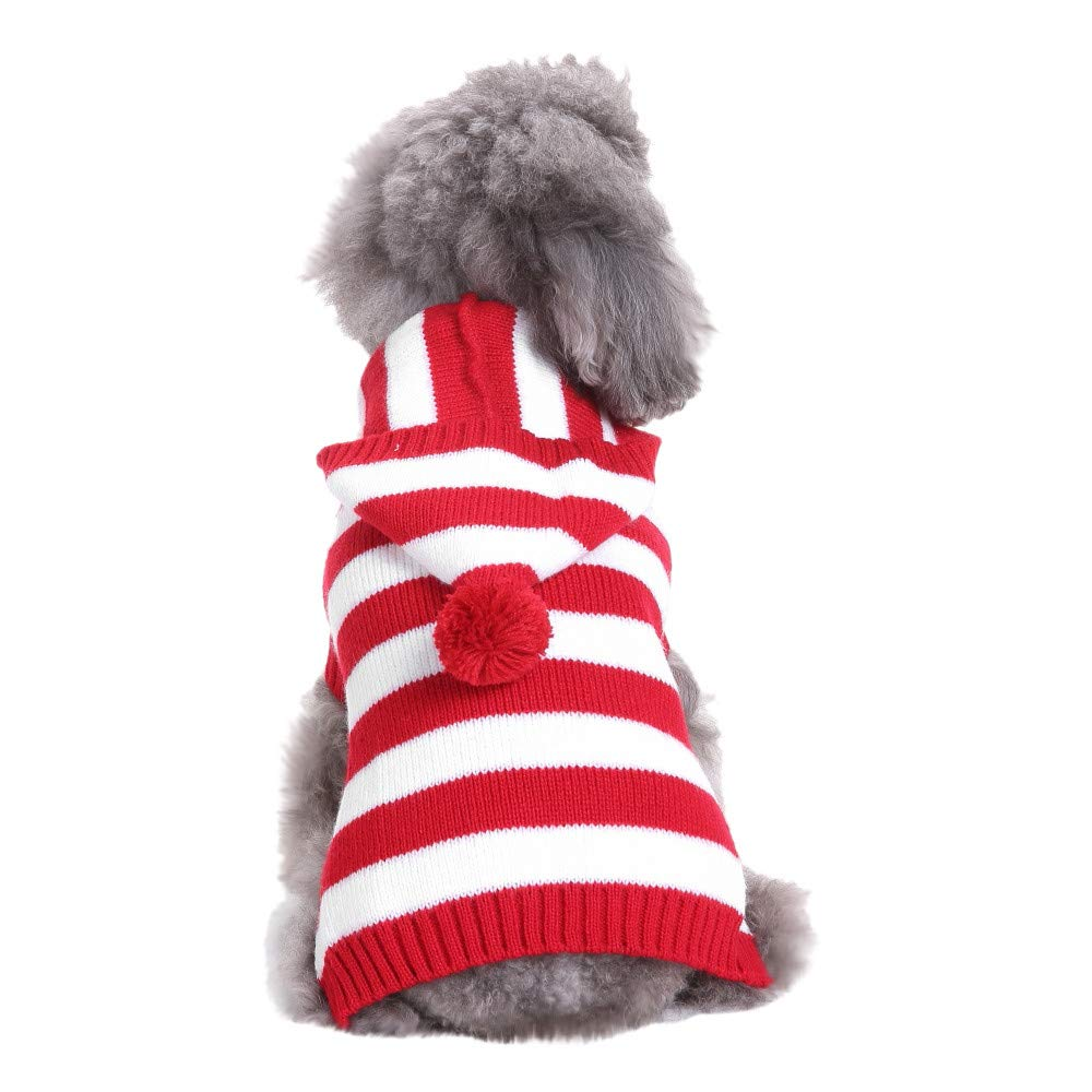 Christmas Pet Dog Cat Winter Warm Striped Hooded Sweater Coat Costume Apparel Adorable Outdoor Indoor