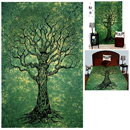 Your Spirit Space (TM Green Tree of Life Tapestry-Good Luck. Quality for Home or Dorms Psychedelic Hippie Asian Contemporary Canvas Wall Hanging Art. The Ultimate Bohemian Tapestry (Asian Contemporary Bed)