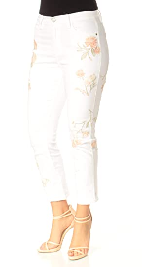 52ecad61f2316 Image Unavailable. Image not available for. Colour  BUFFALO Womens White  High Rise Floral Cropped Jeans Size  33 Waist