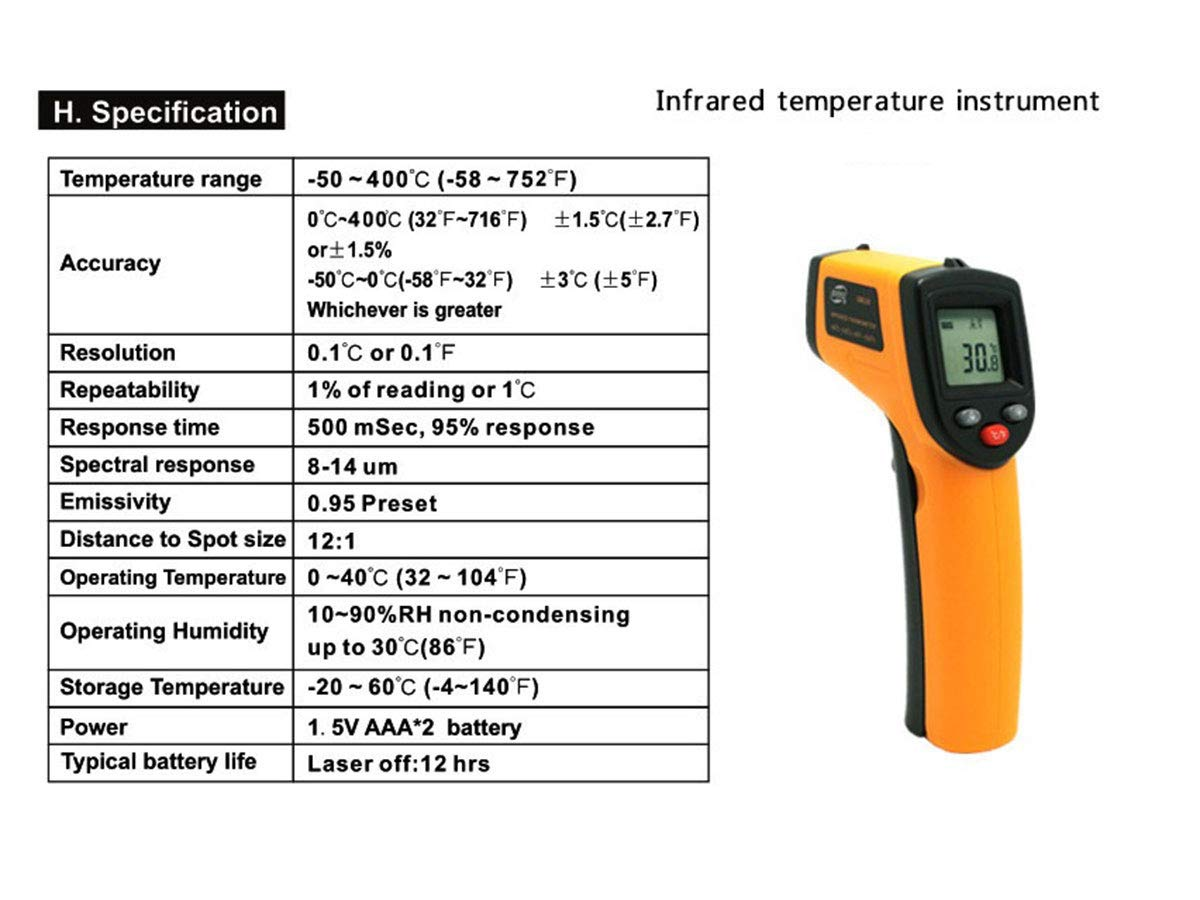 Ovens -58℉~752℉ Kitchen Cooking - for Industrial -50℃~400℃ Battery not Include Infrared Thermometer Temperature Gun Not for Human