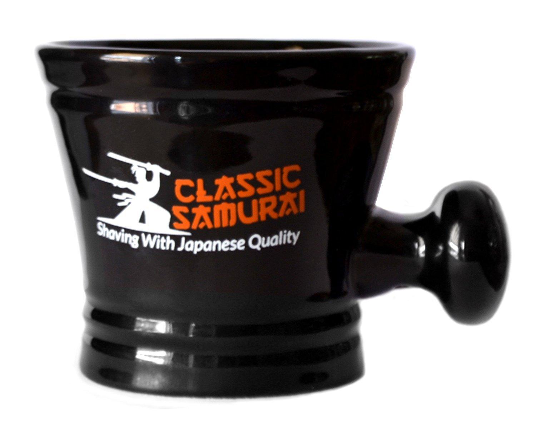 Classic Samurai Deluxe Porcelain Shaving Mug With Handle, Black