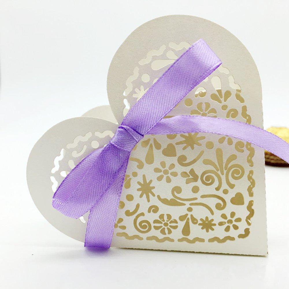 25 piezas, Caja de regalos para bodas, caja de dulces con forma de corazón con recortes dibujados y con lazo Vankra