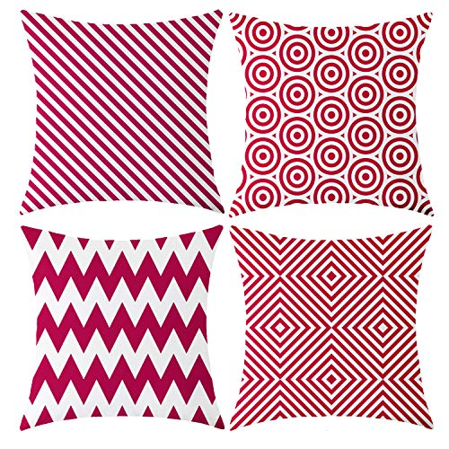 - Vioaplem Pack of 4 Rose Red White Geometric Stripe Cotton Linen Decorative Throw Pillow Covers Square Pillowcase Cushion Case for Sofa Bedroom Car 18×18 Inch