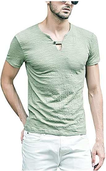 Camisetas Hombre, Overdose Verano de Lino Liso Algodón Talla ...