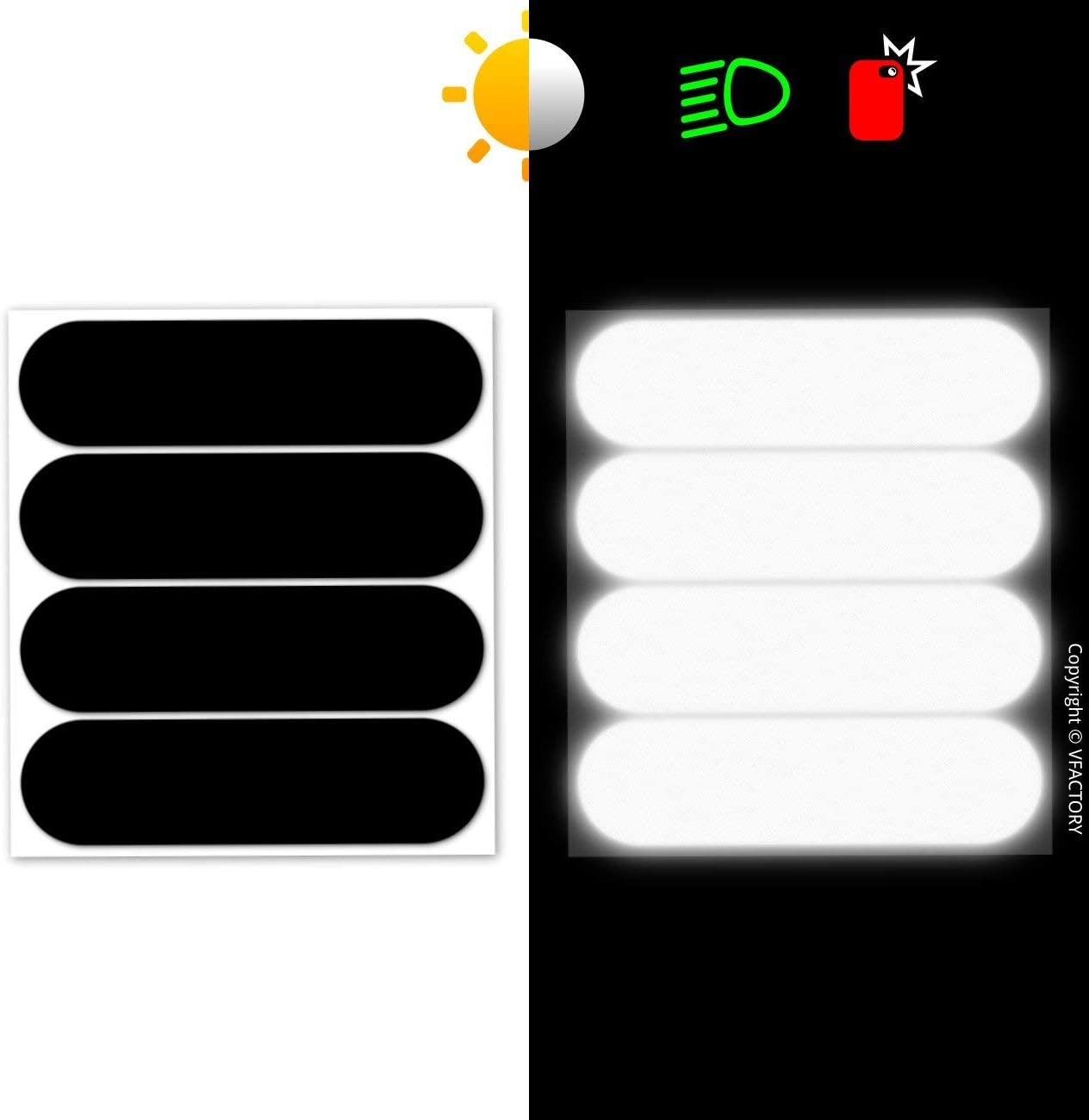 4 retro reflective stickers kit Adhesive for motorbike Helmet//Scooter//Bike//Stroller//Buggy//Toys 8,5 x 2,3 cm 4 Pack B REFLECTIVE, Black Night visibility safety