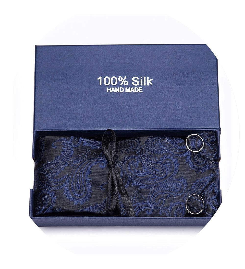 Black Mens Tie Set Jacquard Novelty Silk Woven Necktie Hanky Cufflinks Party