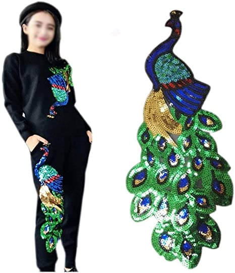 Peacock Glitter Sequins Embroidery Sew on Patch Applique Hat Bag Badge Motif DIY