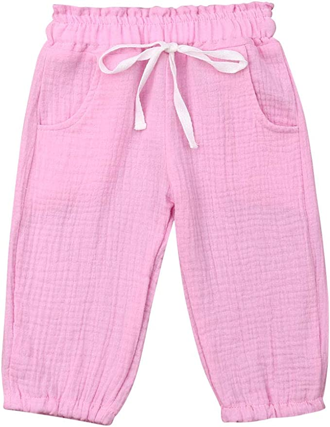 Baby Kids Boys Girls Cute Thin Elastic Waist Ankle Pants