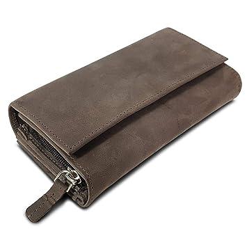 2db6810ac9838 ROYALZ Leder Geldbörse für Damen Portemonnaie groß mit vielen Fächern  RFID-Blocker Brieftasche Querformat