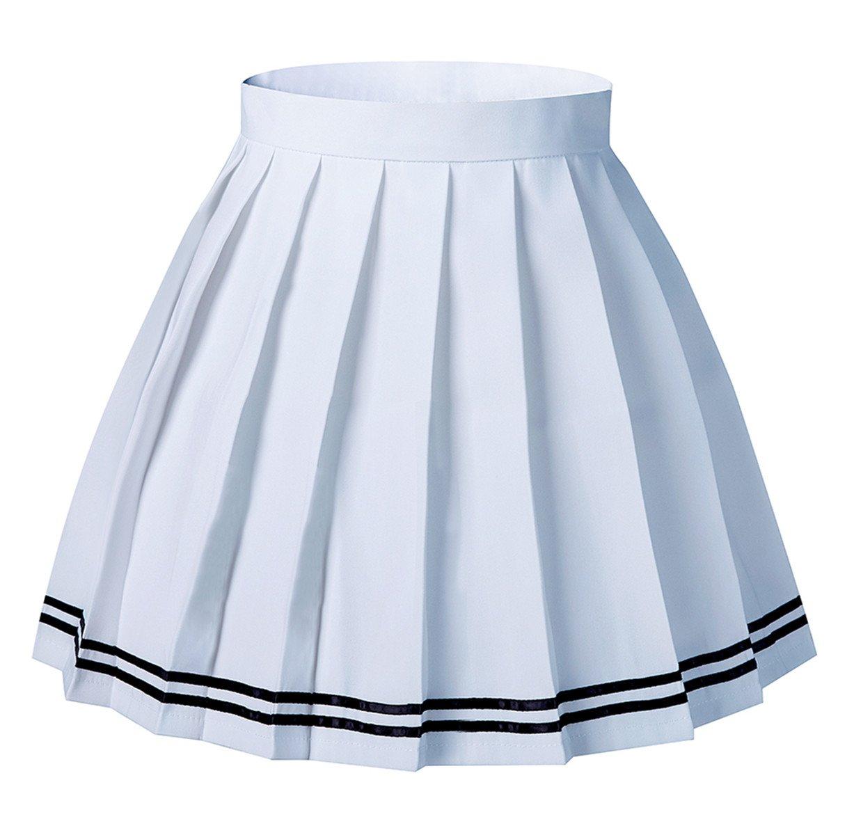 Tremour Women's Japan School Plus Size Plain Pleated Summer Skirts White Stirpes Skorts(XS,White)