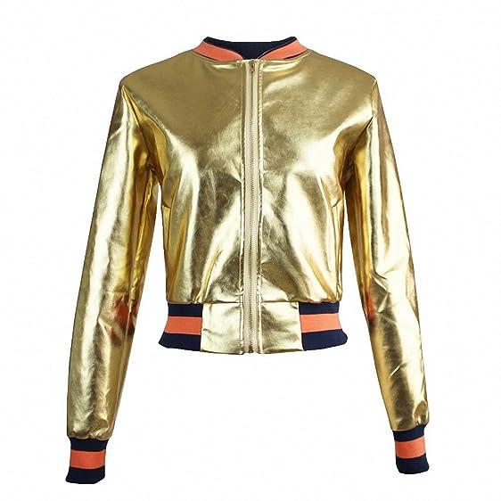 Women Fashion Gold Leather Bomber Jacket Stand Collar Outwear Coat Baseball Jacket