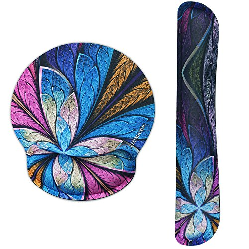 - Lizimandu Keyboard Wrist Rest Pad and Mouse Wrist Rest Support Mouse Pad - Ergonomic Support - Premium Quality Foam Durable Comfortable Lightweight For Easy Typing Pain Relief (Blue Fractal Flower-2)