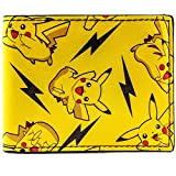 Pokemon Thunderbolt Spark Pikachu Yellow Coin & Card Bi-Fold Wallet