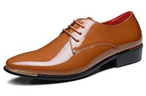 Dress Shoes For Men Metal Pointed Toe Patent Leather Lace Up Casual Oxford by Santimon Brown 9 D(M) US