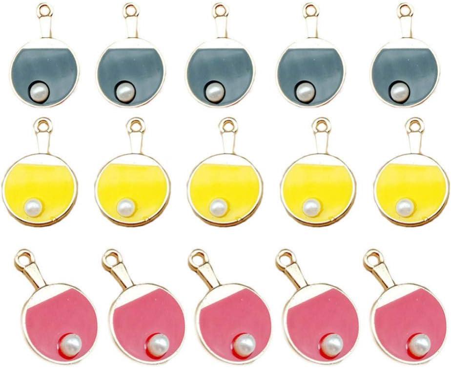 Exceart 30 Piezas Ping-Pong/Tenis de Mesa Paddle Encanto Colgante Deportivo Colgante Pendiente para Diy Llavero Collar Pendiente Accesorios para Hacer Joyas Color Aleatorio