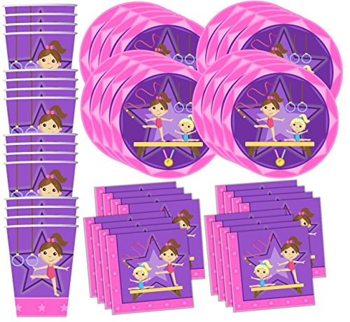 Gymnastics-Star-Birthday-Party-Supplies-Set-Plates-Napkins-Cups-Tableware-Kit-for-16