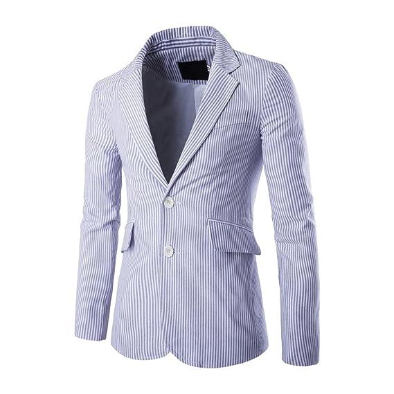 ZhuiKun Americana Chaquetas A Rayas Slim Fit Chaqueta de Traje Blazer para Hombre: Amazon.es: Ropa y accesorios