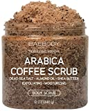 Baebody Arabica Coffee Scrub - With Dead Sea Salt, Olive Oil, and Shea Butter. Exfoliator, Moisturizer Promoting Radiant Skin 12oz