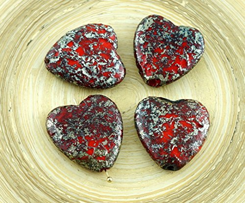 2pcs Large Picasso Rustic Etched Silver Red Czech Glass Heart Beads Focal Pendant Valentines Wedding Halloween 22mm Art Glass Focal Bead