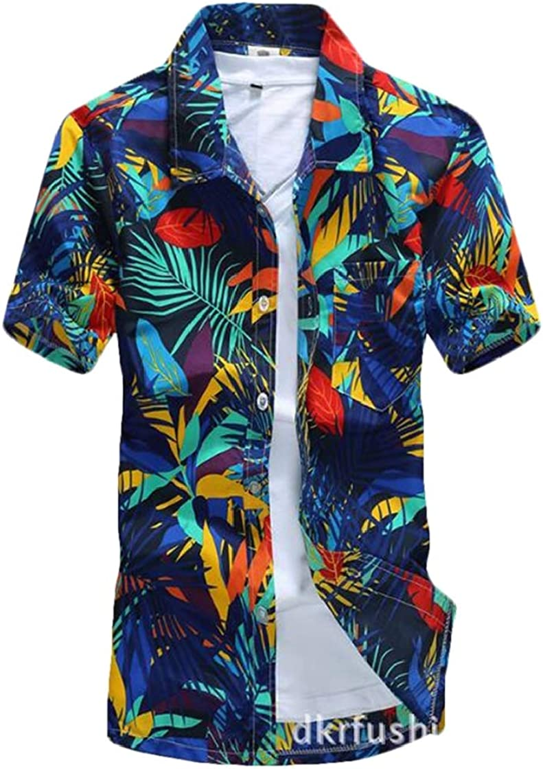 YYear Mens Short Sleeve Casual Relaxed-Fit Quick Dry Beach Printed Dress Shirts