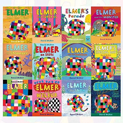 Elmer Collection 12 Books Set By David McKee (Elmer,Elmer and Wilbur,Elmer in the Snow,Elmer and the Lost Teddy,Elmer's Special Day,Elmer and the Rainbow,Elmer on Stilts,Elmer and the Stranger)