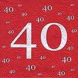 Servietten 40 Geburtstag mit Prägung 20 Stück, 3-lagig 33x33cm