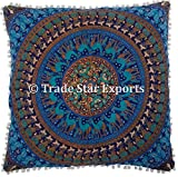 Euro Sham Pillow Cover with Pom Pom Lace Decorative Floor Cushion 26'' Ethnic Cotton Mandala Cushion Cover (Pattern 8)