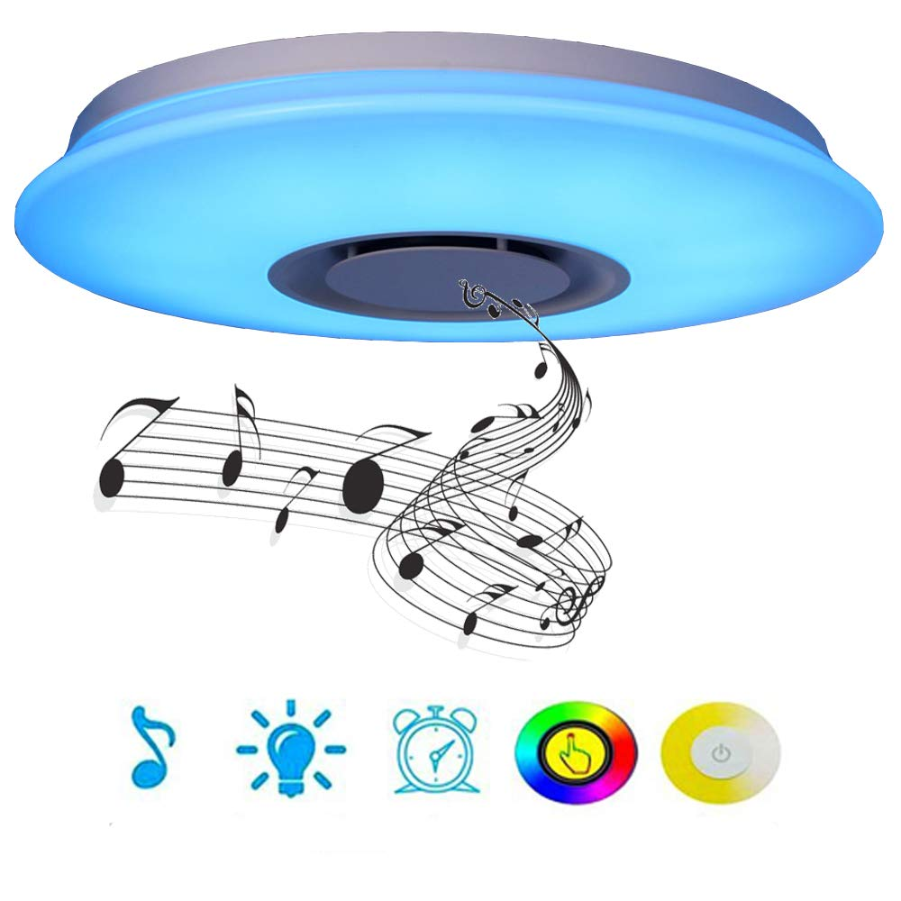 LED Ceiling Light, HOREVO Dimmable Modern Music Semi Flush Mount Fixture with Bluetooth Speaker, 24W 15 Inch, Cellphone APP, RGB Color Change Warm/Cool White Temperature, Pendant Ceiling Lighting