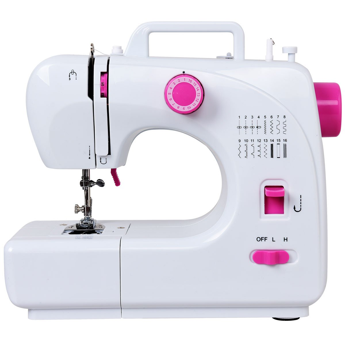 Costway Sewing Machine Portable Multifunctional Sewing Machine with 16 Built-in Stitch Adjustable 2-Speed Automatic Thread Rewind Sewing Machine with Light and Bonus Accessories