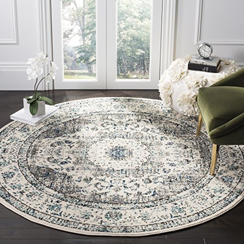 Safavieh Evoke Collection EVK220D Vintage Oriental Grey and Ivory Round Area Rug (3' in Diameter)