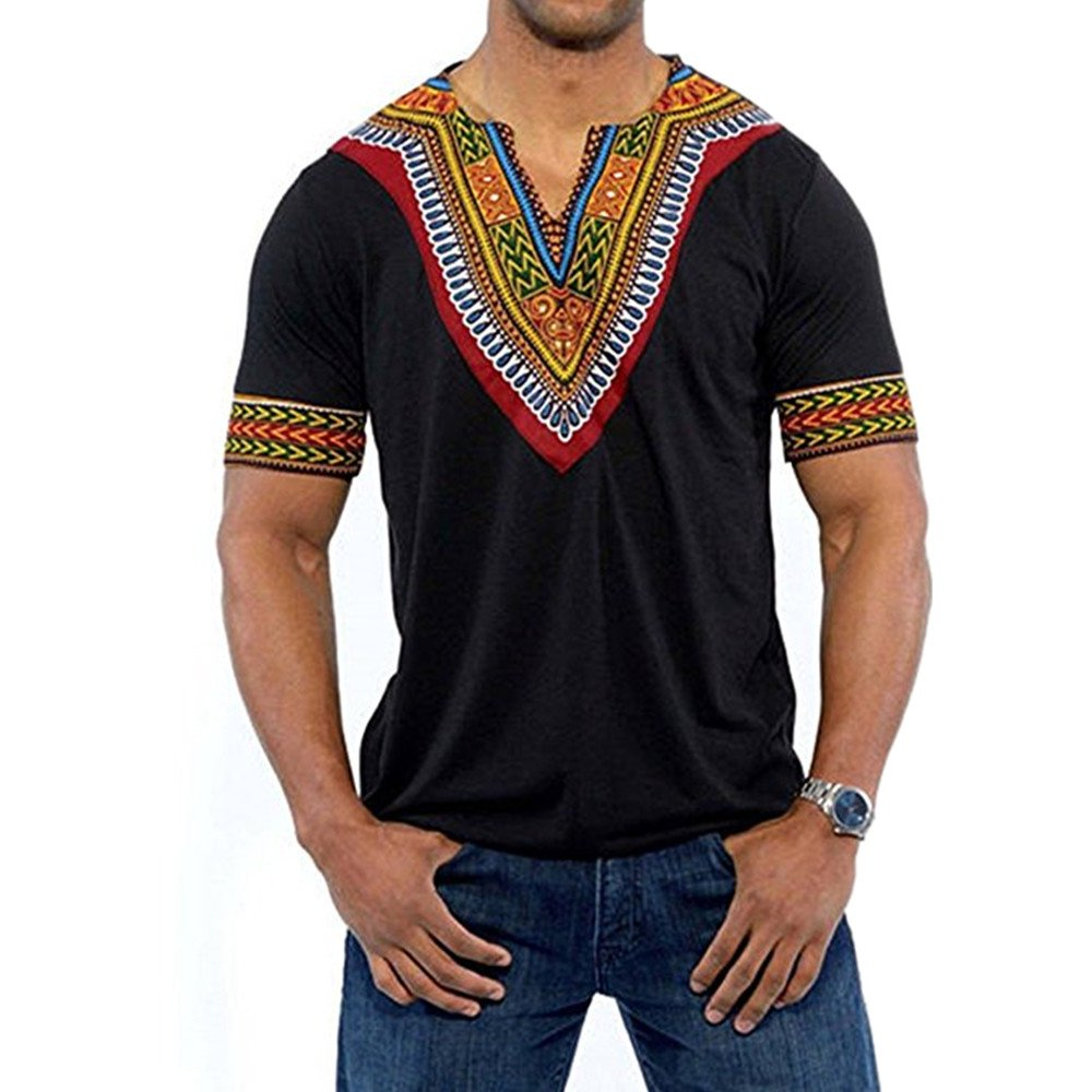 Gtealife Men's African Print Dashiki T-Shirt Tops Blouse (1-Black, S) by Gtealife