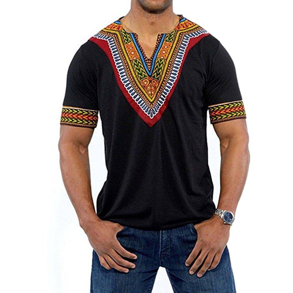 Gtealife Men's African Print Dashiki T-Shirt Tops Blouse (1-Black, XXL)