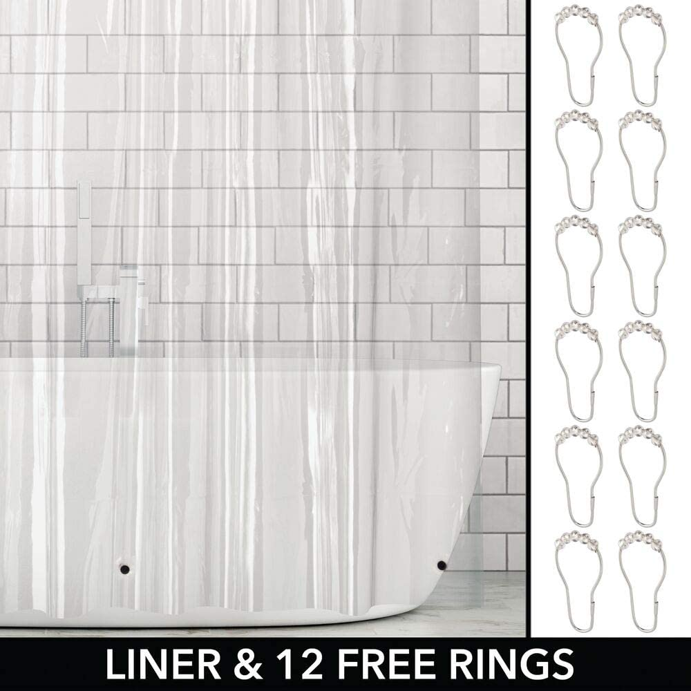 72 x 72 Water-Resistant Heavy Duty PEVA Shower Curtain Liner Includes 12 Roller Hook for Bathroom Showers and Bathtubs mDesign Plastic 3 Gauge Clear Mold//Mildew Resistant