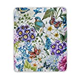 My Little Nest Warm Throw Blanket Watercolor Vintage Flowers Birds Butterflies Lightweight MicrofiberSoft Blanket Everyday Use for Bed Couch Sofa 50'' x 60''